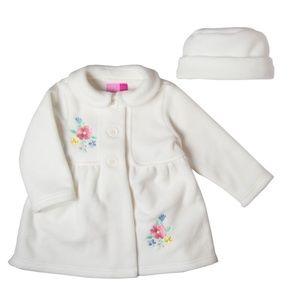 Good Lad Crème Fleece Coat + Hat Floral Embroidery